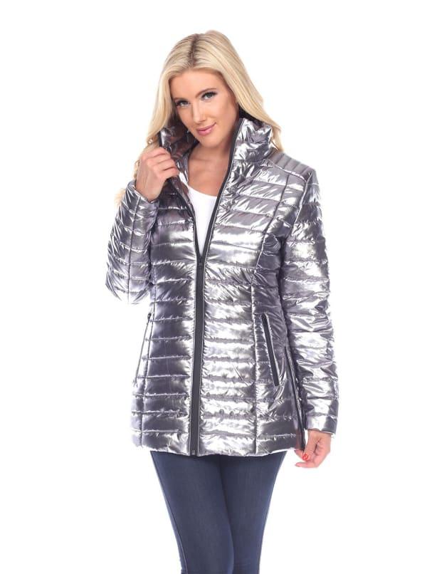 Metallic Front Zipper Puffer Coat