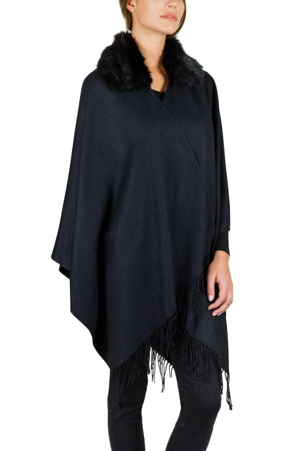 Jessica Mcclintock Super Soft Ruana with Fur Collar