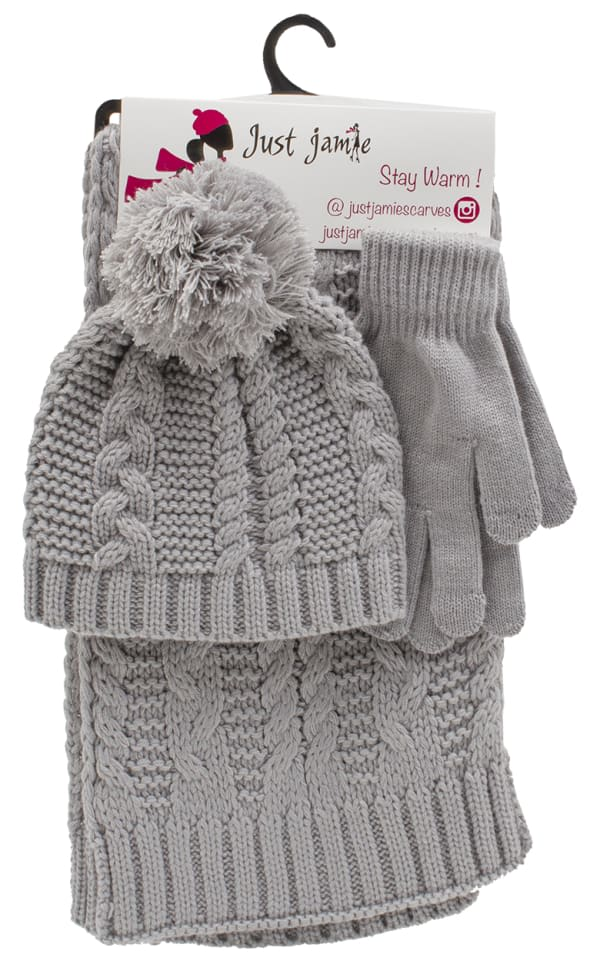 3 Pieces Solid Jersey Cable Knit Hat, Glove, Scarf Set