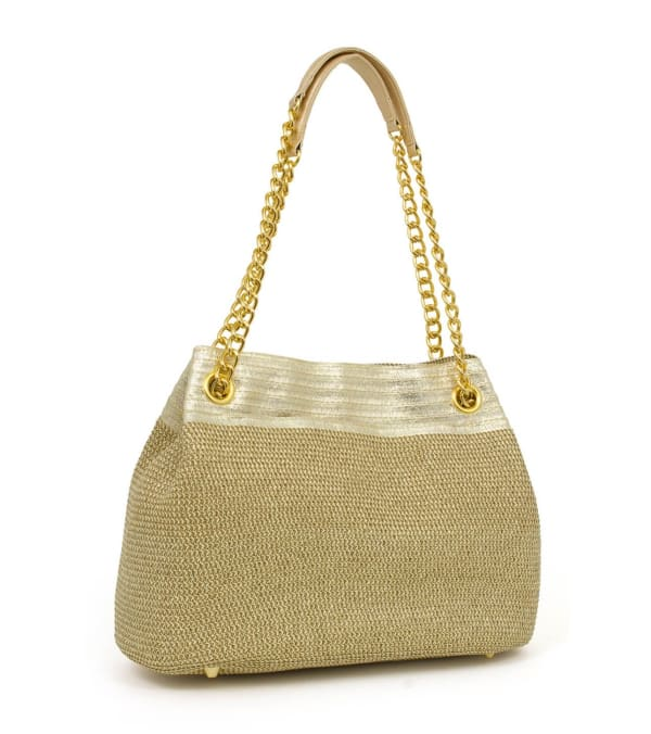 Metallic Straw Double Handle Chain Satchel