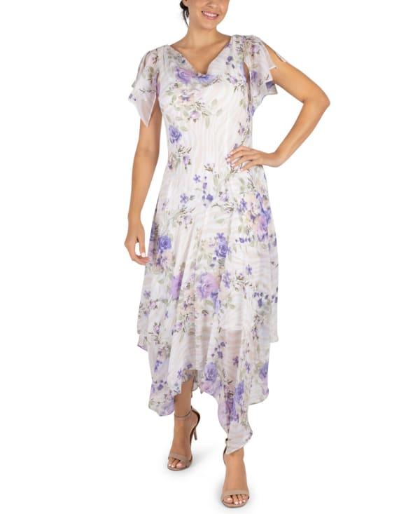 RB Ivory Floral Drape Neck Chiffon Dress