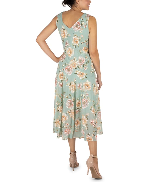 RB Sage Floral Chiffon Drape Neck Dress