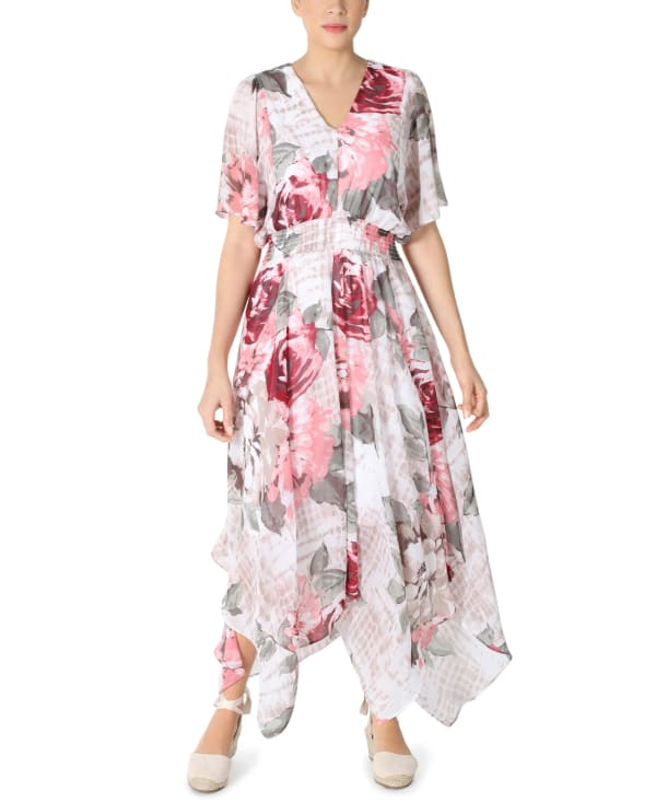RB Ivory Chiffon Floral Hanky Hem Dress