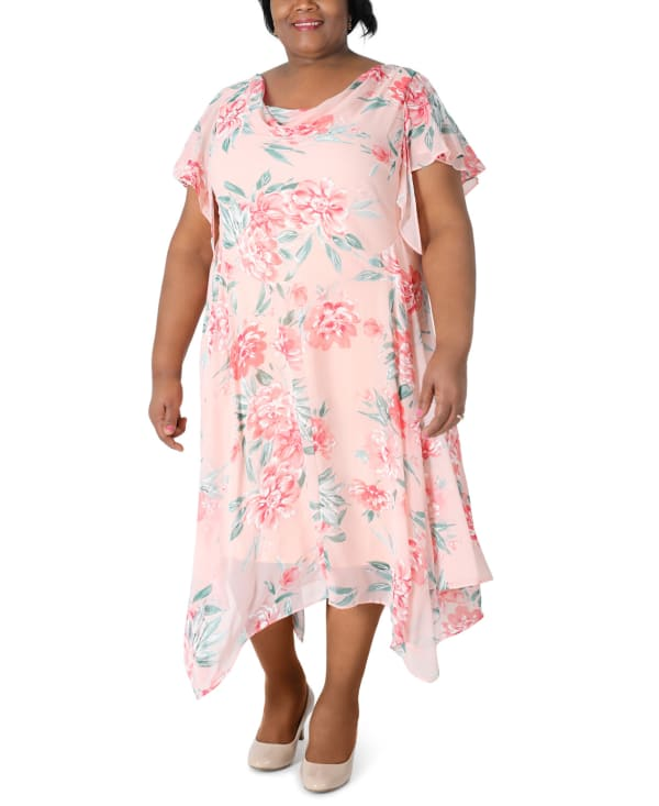 RB Pink Coral Floral Chiffon Dress-Plus