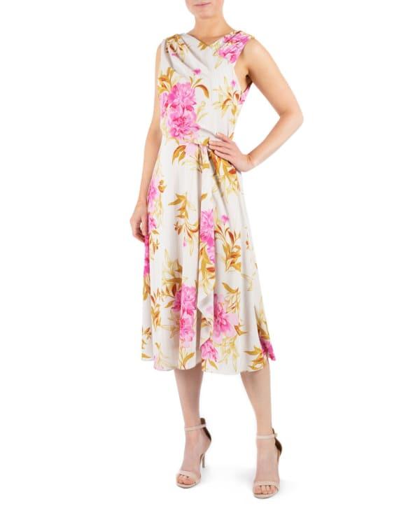 DR  Beige Floral  Asymmetrical  Neck Dress