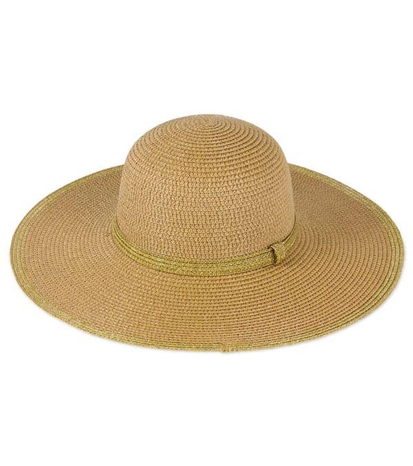 Metallic Border Straw Floppy Hat