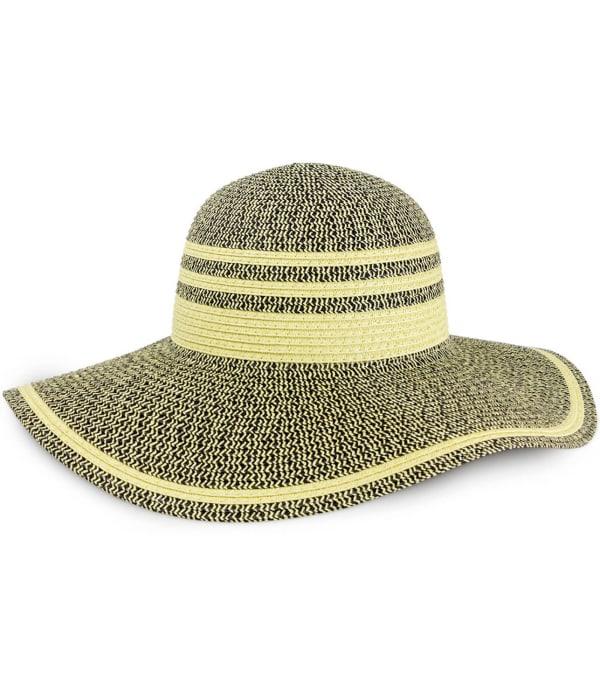 Striped Two Tone Straw Floppy Hat