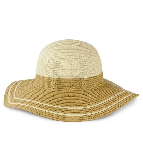 Colorblock Straw Floppy Hat
