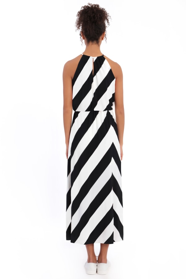 Hallie Black/White Halter Maxi with Front Slit Dress - Petite