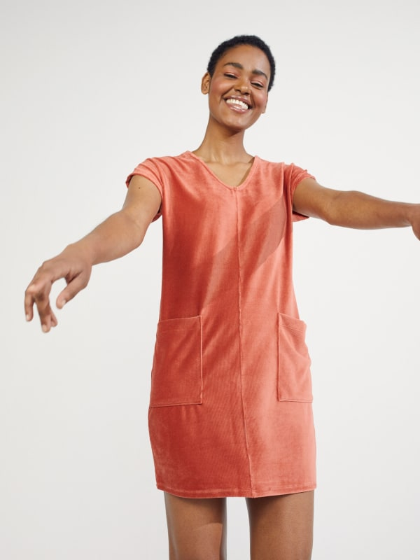 Textured V-Neck Dress With Patch Pockets