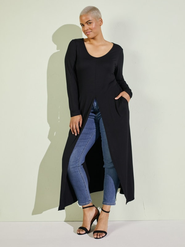 Front Slit Long Sleeve Shirt With Pockets - Plus
