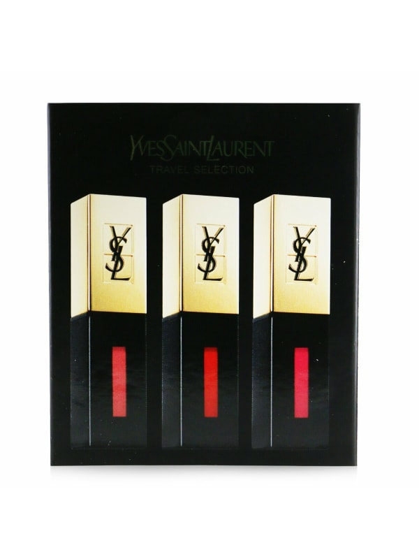 Yves Saint Laurent Women's Rouge Pur Couture Vernis A Levres Glossy Stain Trio Set Brush
