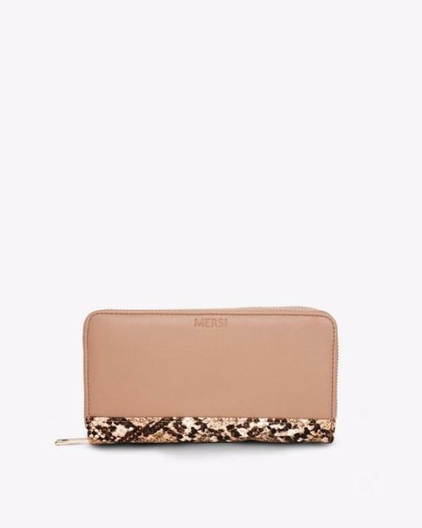 Mersi Carrie Snake Print Bi-Fold Wallet - Vegan Leather