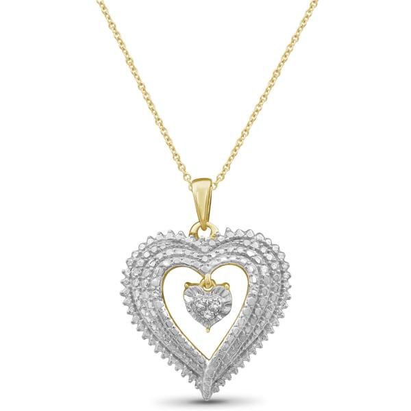 "Jewelonfire White Diamond Accent 14K Gold-Plated Heart Pendant, 18"""