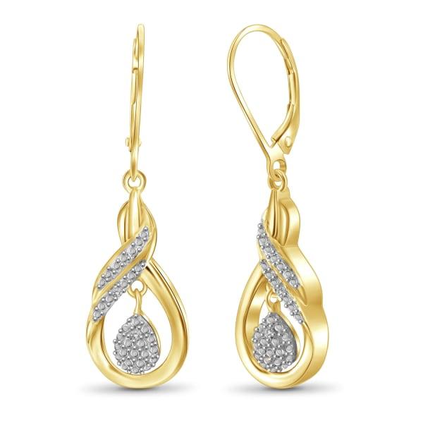 Jewelonfire White Diamond Accent 14K Gold-Plated Dangle Earrings