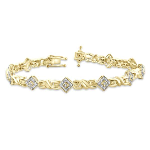 Jewelonfire White Diamond Accent 14K Gold Plated Brass Bracelet, 7.25