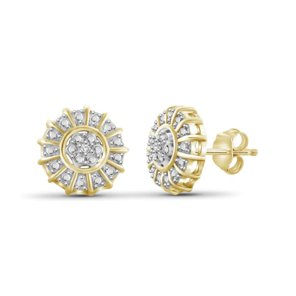 Jewelonfire White Diamond Accent 14K Gold-Plated Cluster Stud Earrings