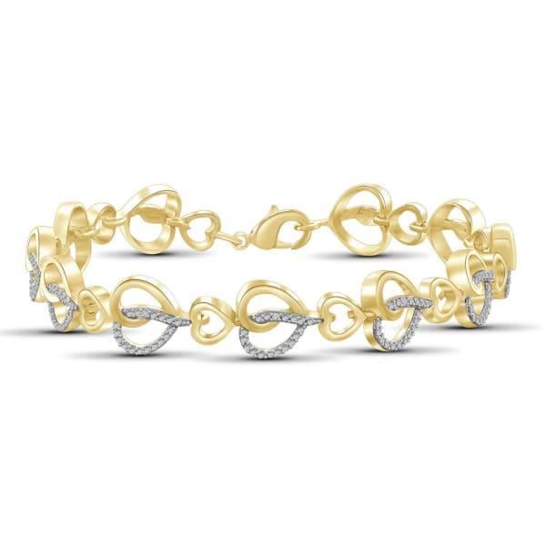 Jewelonfire White Diamond Accent 14K Gold-Plated Heart Bracelet, 8.00