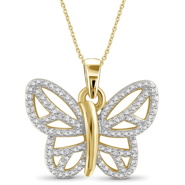"""Jewelonfire White Diamond Accent 14K Gold-Plated Butterfly Pendant, 18"""""""