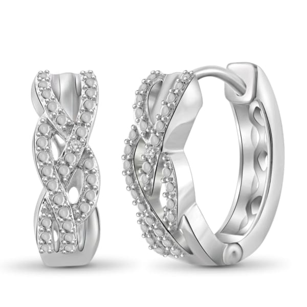 Jewelonfire White Diamond Accent Hoop Earrings In Rhodium Plated Brass