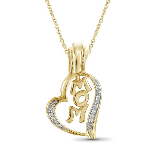 "Jewelonfire White Diamond Accent 14K Gold-Plated Mom Heart Pendant, 18"""