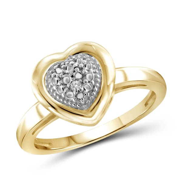 Jewelonfire White Diamond Accent 14K Gold-Plated Heart Ring (Size 7 Only)