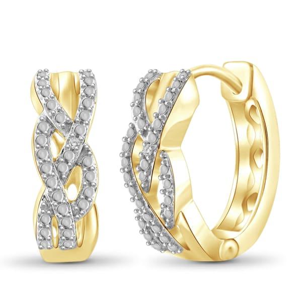 Jewelonfire White Diamond Accent 14K Gold-Plated Hoop Earrings