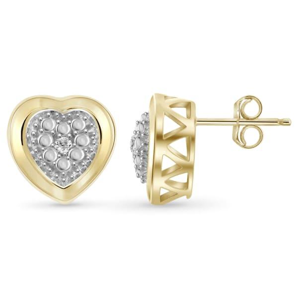 Jewelonfire White Diamond Accent 14K Gold-Plated Heart Stud Earrings