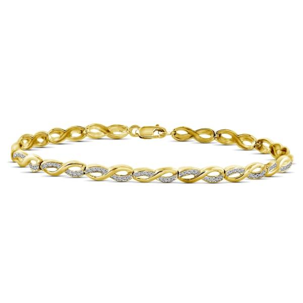 Jewelonfire White Diamond Accent 14K Gold-Plated Infinity Bracelet, 7.25