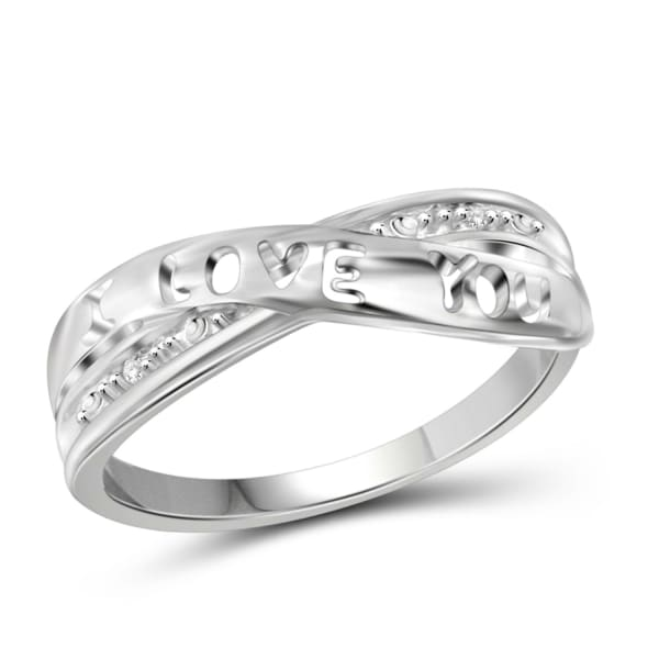 Jewelonfire White Diamond Accent Sterling Silver I Love You Ring
