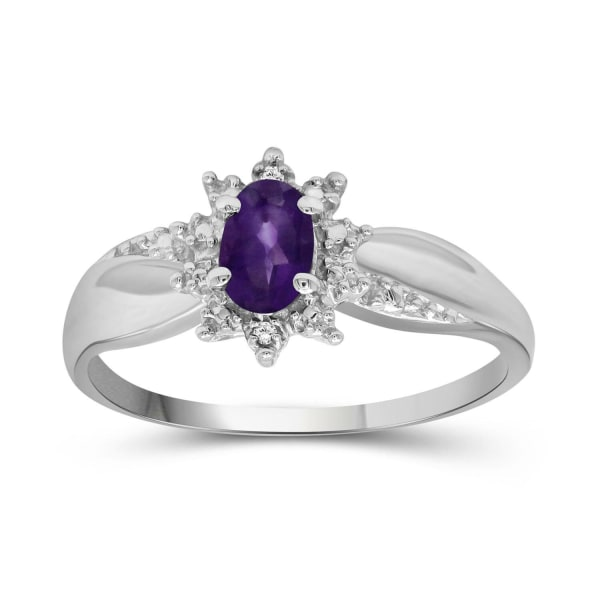 Jewelonfire 3/8 Carat T.g.w. Amethyst And White Diamond Accent Sterling Silver Ring