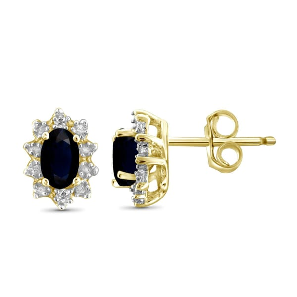 Jewelonfire 1/2 Carat T.g.w. Sapphire And Accent White Diamond 14K Gold Over Silver Earrings