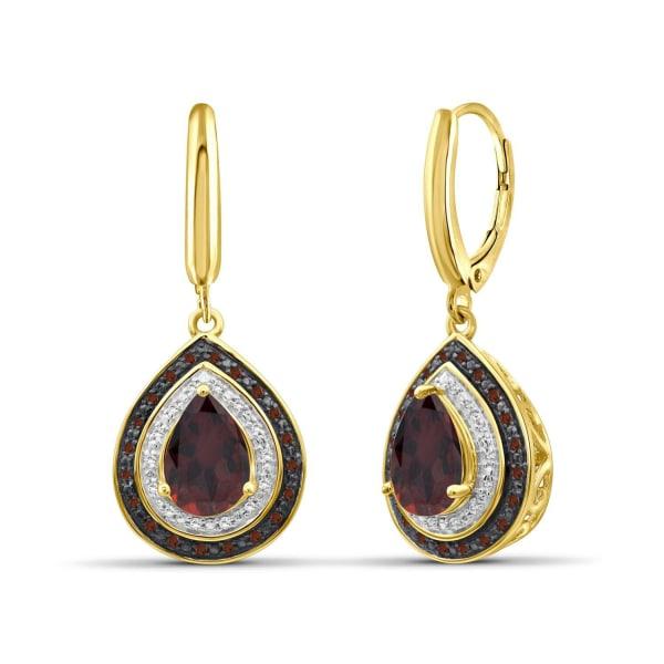 Jewelonfire 2 1/2 Carat T.g.w. Garnet And 1/5 Carat T.w. Red & White Diamond 14K Gold Over Silver Drop Earrings