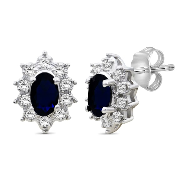 Jewelonfire 3/4 Carat T.g.w. Sapphire And White Topaz Sterling Silver Stud Earrings