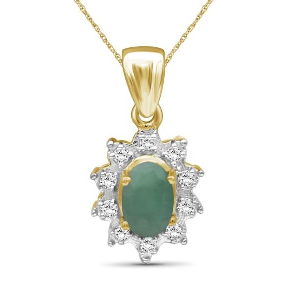 "Jewelonfire 1/2 Carat T.g.w. Emerald And White Topaz 14K Gold Over Silver Pendant,18"""