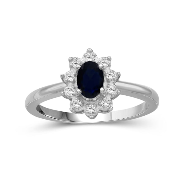 Jewelonfire 5/8 Carat T.g.w. Sapphire And White Topaz Sterling Silver Ring (Size 7 Only)