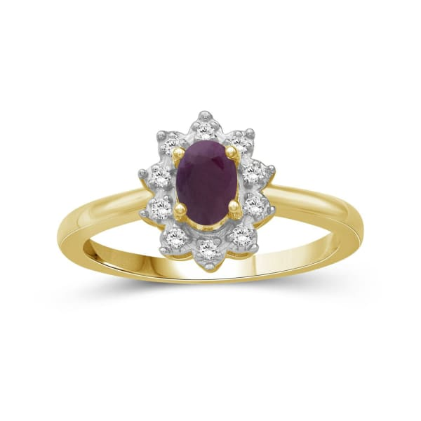 Jewelonfire 5/8 Carat T.g.w. Ruby And White Topaz 14K Gold Over Silver Ring (Size 7 Only)
