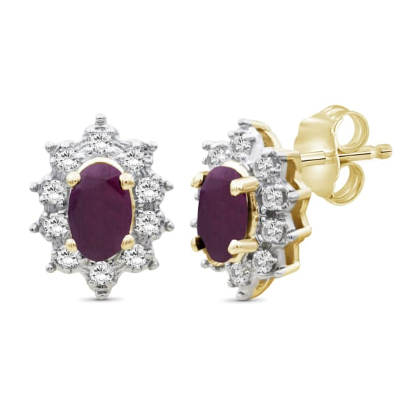 Jewelonfire 5/8 Carat T.g.w. Ruby And White Topaz 14K Gold Over Silver Stud Earrings