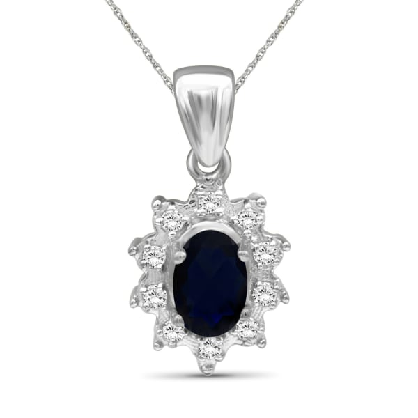 """Jewelonfire 5/8 Carat T.g.w. Sapphire And White Topaz Sterling Silver Pendant,18"""""""
