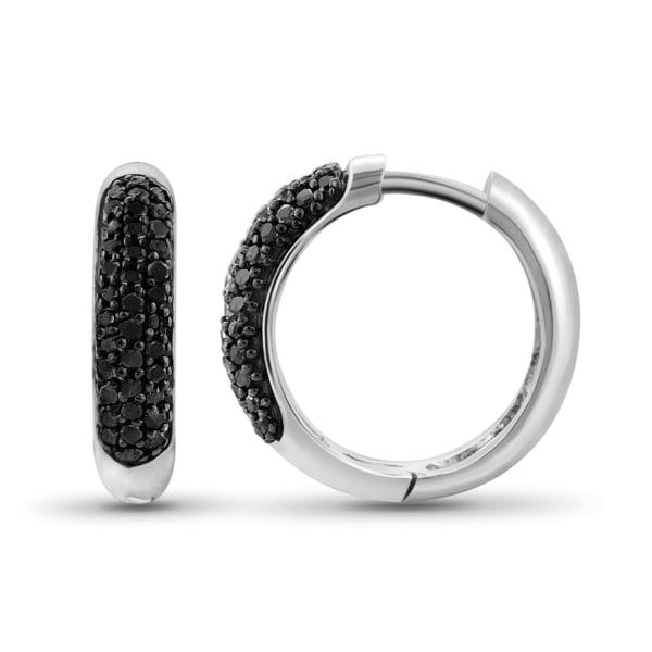 Jewelonfire 1/4 Carat T.w. Black Diamond Sterling Silver Hoop Earrings