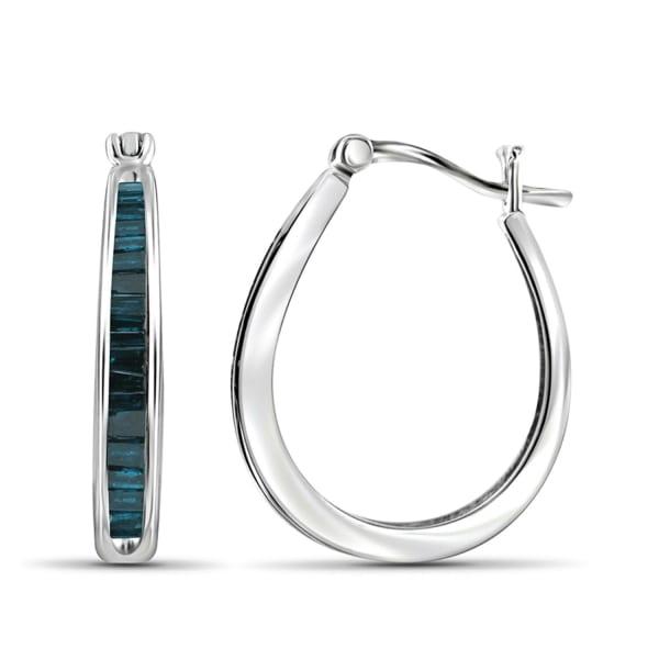 Jewelonfire 1 Carat T.w. Blue Diamond Sterling Silver Hoop Earrings