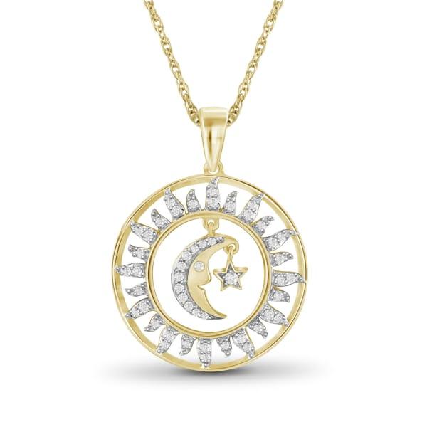 "Jewelonfire 1/4 Carat T.w. White Diamond Sun, Moon And Star 14K Gold Over Silver Pendant,18"""