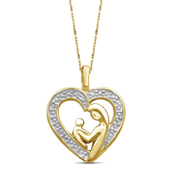 """Jewelonfire White Diamond Accent 14K Gold Over Silver Mother And Child Heart Pendant,18"""""""