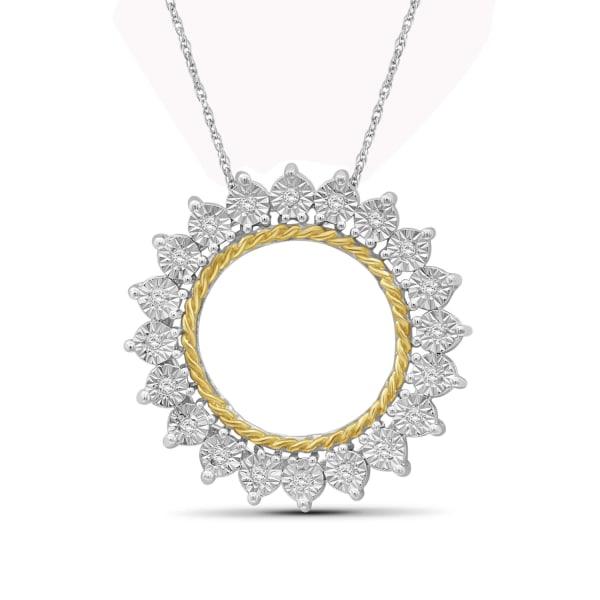 "Jewelonfire White Diamond Accent Two Tone Sterling Silver Pendant,18"""