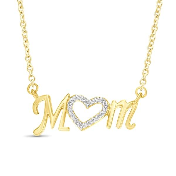 "Jewelonfire 1/10 Carat T.w. White Diamond 14K Gold Over Silver Mom Pendant Necklace,18"""