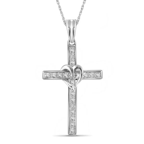"Jewelonfire White Diamond Accent Sterling Silver Cross Pendant,18"""