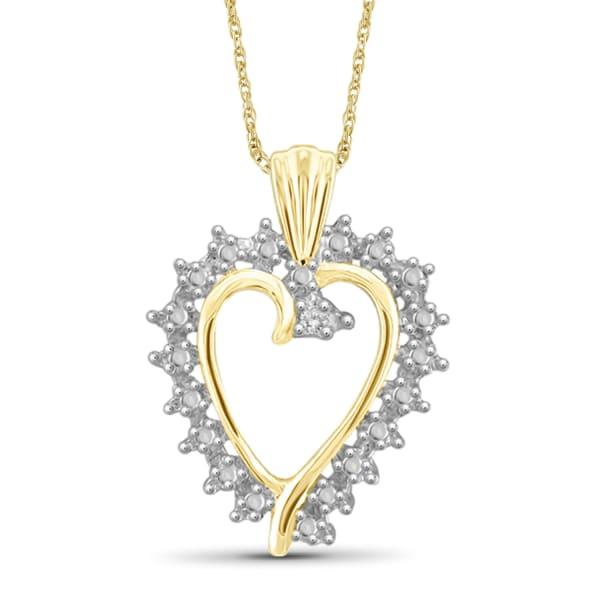 "Jewelonfire White Diamond Accent 14K Gold Over Silver Heart Pendant,18"""