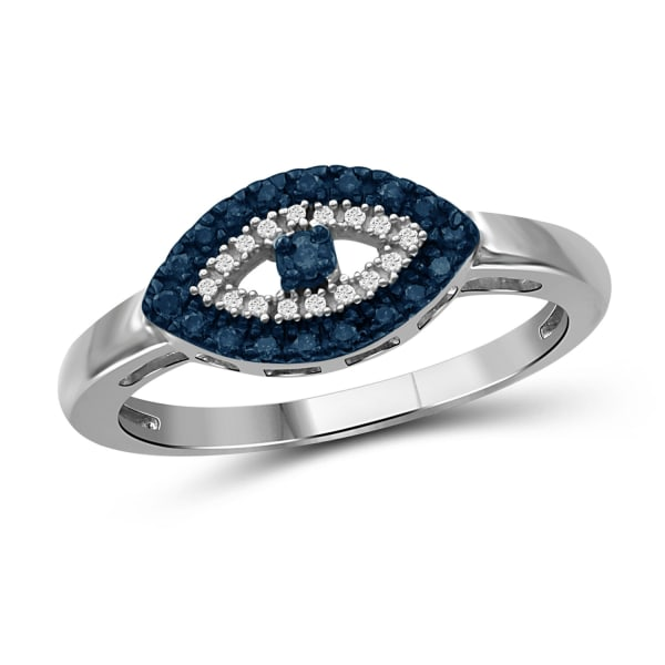 Jewelonfire 1/7 Carat T.w. Blue And White Diamond Sterling Silver Evil Eye Ring (Size 7 Only)