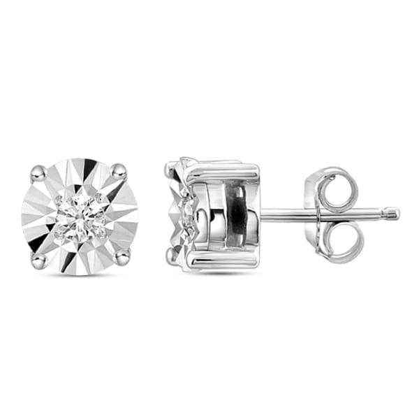 Jewelonfire 1/10 Carat T.w. White Diamond Sterling Silver Stud Earrings