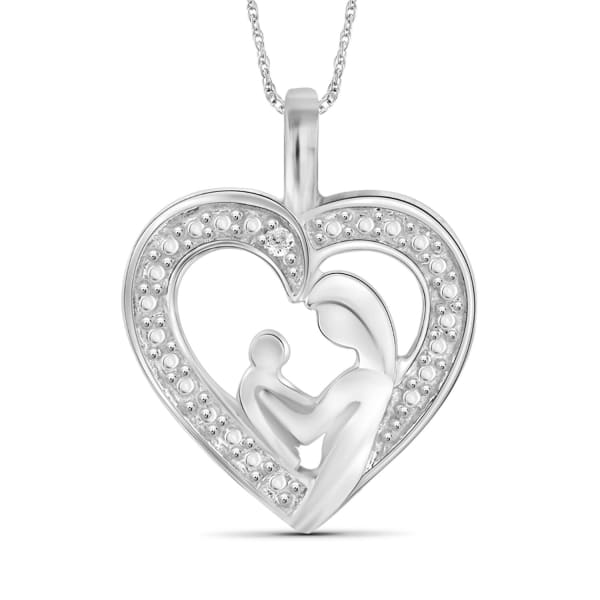 """Jewelonfire Sterling Silver Heart Necklace With White Diamond Accent,18"""""""